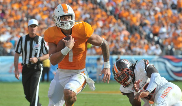 Sep 5, 2015; Nashville, TN, USA; Tennessee Volunteers running back Jalen Hurd (1) rushes for a touchdown against the Bowling Green Falcons during the first half at Nissan Stadium. Mandatory Credit: Jim Brown-USA TODAY Sports