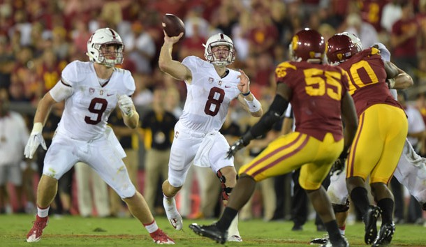 Sep 19, 2015; Los Angeles, CA, USA; Stanford Cardinal quarterback Kevin Hogan (8) throws a pass against the Southern California Trojans at Los Angeles Memorial Coliseum. Mandatory Credit: Kirby Lee-USA TODAY Sports