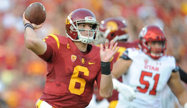 October 24, 2015; Los Angeles, CA, USA; Southern California Trojans quarterback Cody Kessler (6) throws against the Utah Utes during the first half at Los Angeles Memorial Coliseum. Mandatory Credit: Gary A. Vasquez-USA TODAY Sports