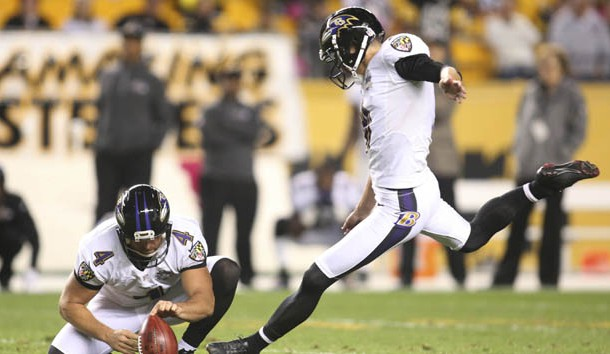 Oct 1, 2015; Pittsburgh, PA, USA; Baltimore Ravens kicker Justin Tucker (9) kicks a game winning fifty-two yard field goal to defeat the Pittsburgh Steelers in overtime at Heinz Field. The Ravens won 23-20 in overtime. Mandatory Credit: Charles LeClaire-USA TODAY Sports