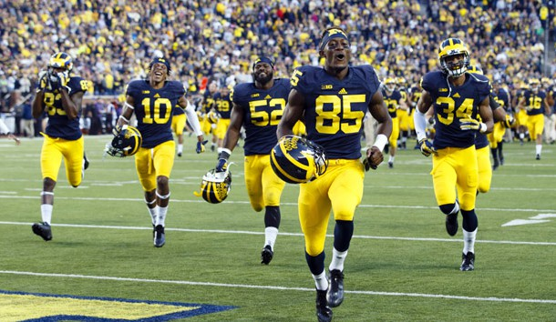 Oct 10, 2015; Ann Arbor, MI, USA; Michigan Wolverines players run over to the student section after the game against the Northwestern Wildcats at Michigan Stadium. Michigan won 38-0. Mandatory Credit: Rick Osentoski-USA TODAY Sports