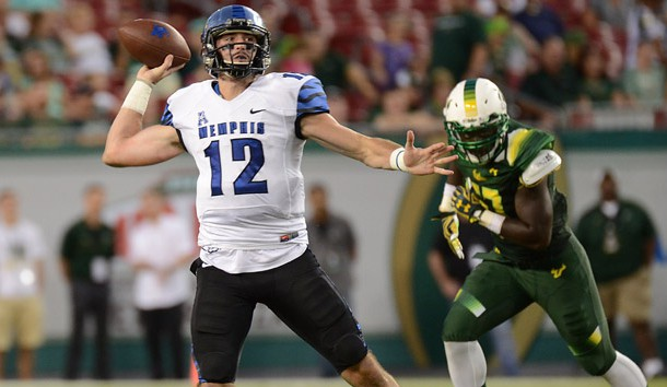 Oct 2, 2015; Tampa, FL, USA; Memphis Tigers quarterback Paxton Lynch (12) throws a pass in the first half against the South Florida Bulls at Raymond James Stadium. Mandatory Credit: Jonathan Dyer-USA TODAY Sports