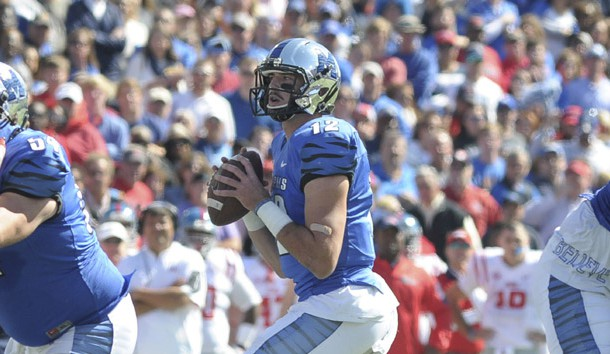 Oct 17, 2015; Memphis, TN, USA; Memphis Tigers quarterback Paxton Lynch (12) during the game against the Mississippi Rebels at Liberty Bowl Memorial Stadium. Mandatory Credit: Justin Ford-USA TODAY Sports