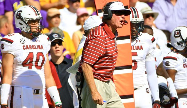 Oct 10, 2015; Baton Rouge, LA, USA; South Carolina Gamecocks head coach Steve Spurrier against the LSU Tigers during the first quarter of a game at Tiger Stadium.  Mandatory Credit: Derick E. Hingle-USA TODAY Sports