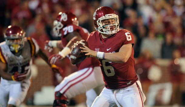 Nov 7, 2015; Norman, OK, USA; Oklahoma Sooners quarterback Baker Mayfield (6) looks to pass the ball against the Iowa State Cyclones during the second quarter at Gaylord Family - Oklahoma Memorial Stadium. Mandatory Credit: Mark D. Smith-USA TODAY Sports