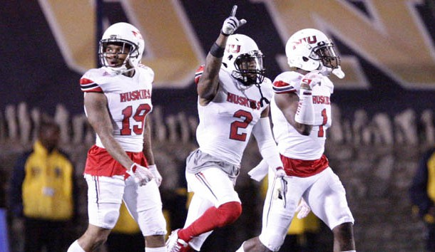 Nov 3, 2015; Toledo, OH, USA; Northern Illinois Huskies safety Marlon Moore (2) celebrates after a turnover during the fourth quarter against the Toledo Rockets at Glass Bowl. Huskies win 32-27. Mandatory Credit: Raj Mehta-USA TODAY Sports
