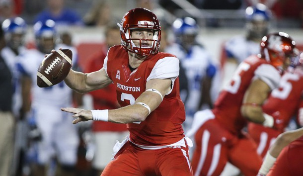 Nov 14, 2015; Houston, TX, USA; Houston Cougars quarterback Kyle Postma (3) prepares to throw the ball during the third quarter against the Memphis Tigers at TDECU Stadium. The Cougars won 35-34. Mandatory Credit: Troy Taormina-USA TODAY Sports