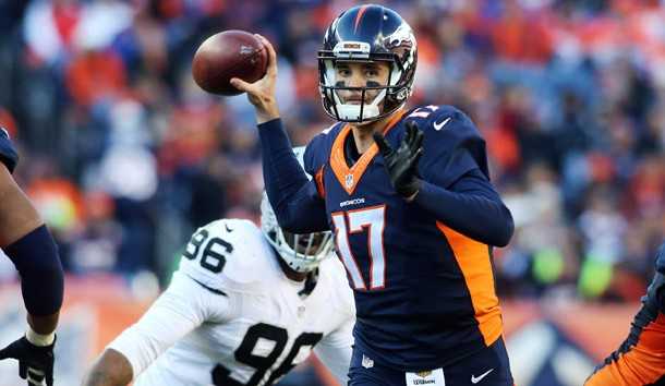 Dec 13, 2015; Denver, CO, USA; Denver Broncos quarterback Brock Osweiler (17) looks to pass the ball during the first half against the Oakland Raiders at Sports Authority Field at Mile High. Mandatory Credit: Chris Humphreys-USA TODAY Sports