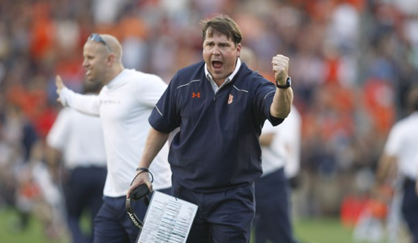 Nov 28, 2015; Auburn, AL, USA; Auburn Tigers defensive coordinator Will Muschamp complains to an official during the second quarter against the Alabama Crimson Tide at Jordan Hare Stadium. Mandatory Credit: John Reed-USA TODAY Sports