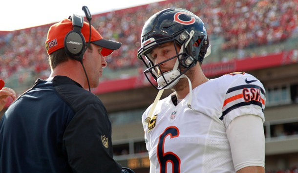 Dec 27, 2015; Tampa, FL, USA; Chicago Bears quarterback Jay Cutler (6) talks with offensive coordinator Adam Gase during the second half against the Tampa Bay Buccaneers at Raymond James Stadium. Mandatory Credit: Kim Klement-USA TODAY Sports