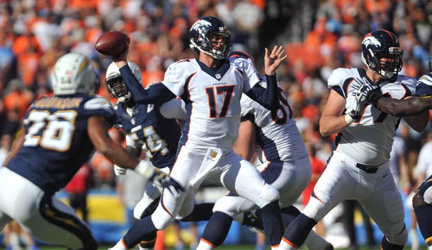 Dec 6, 2015; San Diego, CA, USA; Denver Broncos quarterback Brock Osweiler (17) throws a pass during the first quarter of the game against the San Diego Chargers at Qualcomm Stadium. Mandatory Credit: Orlando Ramirez-USA TODAY Sports