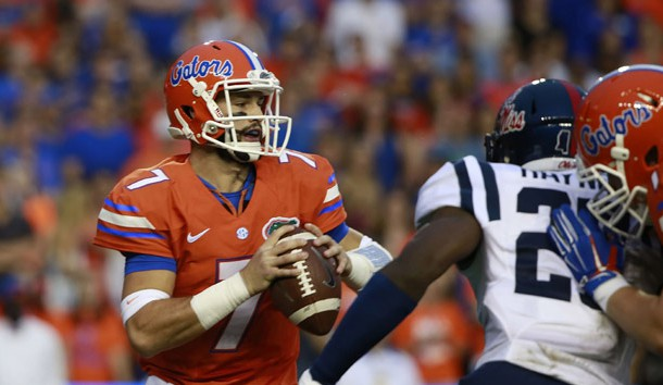 Oct 3, 2015; Gainesville, FL, USA; Florida Gators quarterback Will Grier (7) drops back during the first quarter against the Mississippi Rebels at Ben Hill Griffin Stadium. Mandatory Credit: Kim Klement-USA TODAY Sports