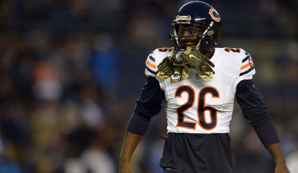 Nov 9, 2015; San Diego, CA, USA; Chicago Bears strong safety Antrel Rolle (26) looks on before the game against the San Diego Chargers at Qualcomm Stadium. Mandatory Credit: Jake Roth-USA TODAY Sports