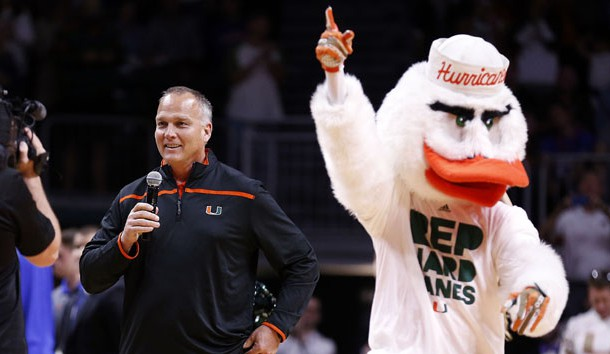 Dec 8, 2015; Coral Gables, FL, USA; Miami Hurricanes head football coach Mark Richt speaks to the fans during a timeout the first half against the Florida Gators at BankUnited Center. Photo Credit: Steve Mitchell-USA TODAY Sports