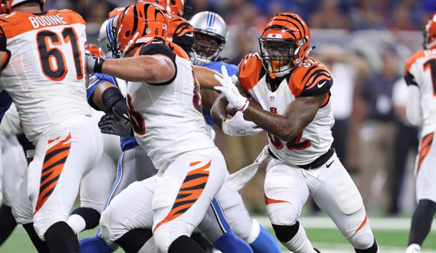 Aug 18, 2016; Detroit, MI, USA; Cincinnati Bengals running back Jeremy Hill (32) runs for a touchdown during the first quarter against the Detroit Lions at Ford Field. Photo Credit: Raj Mehta-USA TODAY Sports