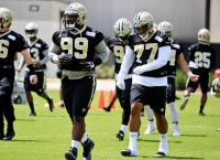Saints rookie DT Rankins carted off practice field