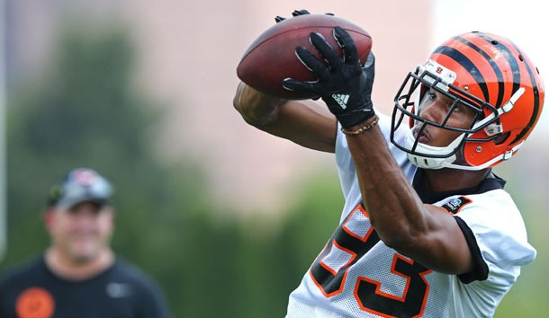Cincinnati Bengals wide receiver Tyler Boyd (83) makes a catch during training camp at Paul Brown Stadium. He's been turning heads in camp. Photo Credit: Aaron Doster-USA TODAY Sports