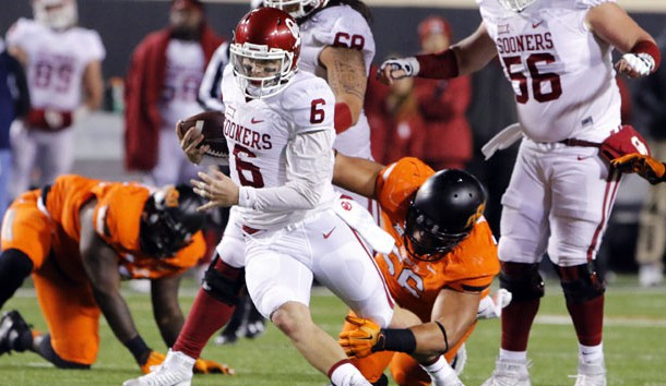 Baker Mayfield (6) can hurt teams with his arm and legs. Photo Credit: Alonzo Adams-USA TODAY Sports