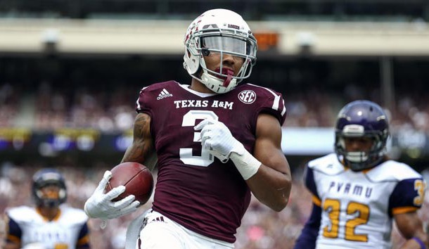 Sep 10, 2016; College Station, TX, USA; Texas A&M Aggies wide receiver Christian Kirk (3) scores a touchdown after a reception during the second quarter against the Prairie View A&M Panthers at Kyle Field. Photo Credit: Troy Taormina-USA TODAY Sports