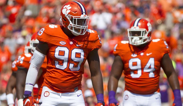 Sep 10, 2016; Clemson, SC, USA;  Clemson Tigers defensive end Clelin Ferrell (99) reacts prior to the snap against the Troy Trojans during the first quarter at Clemson Memorial Stadium. Photo Credit: Joshua S. Kelly-USA TODAY Sports