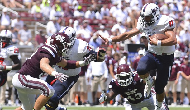 Sep 3, 2016; Starkville, MS, USA; South Alabama Jaguars quarterback Dallas Davis (11) runs the ball during the fourth quarter of the game against the Mississippi State Bulldogs at Davis Wade Stadium. South Alabama won 21-20. Photo Credit: Matt Bush-USA TODAY Sports
