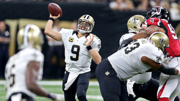 Brees' no-interception streak snapped in Saints' loss