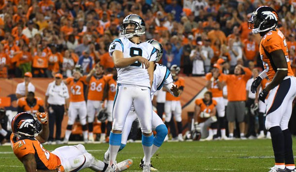 Sep 8, 2016; Denver, CO, USA; Carolina Panthers kicker Graham Gano (9) misses a fifty yard field goal attempt in the fourth quarter against the Denver Broncos at Sports Authority Field at Mile High. The Broncos defeated the Panthers 21-20. Photo Credit: Ron Chenoy-USA TODAY Sports