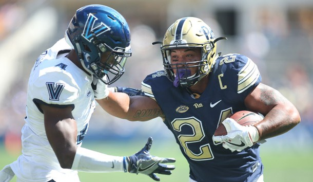Sep 3, 2016; Pittsburgh, PA, USA; Pittsburgh Panthers running back James Conner (24) scores on a four yard touchdown run against defensive back Rob Rolle (4) during the second quarter at Heinz Field. Photo Credit: Charles LeClaire-USA TODAY Sports
