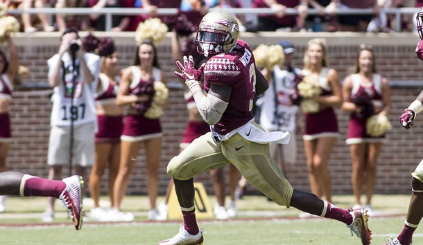 Sep 10, 2016; Tallahassee, FL, USA;  Florida State Seminoles wide receiver Jesus Wilson (3) returns a punt for a first half touchdown against Charleston Southern at Doak Campbell Stadium. Photo Credit: Glenn Beil-USA TODAY Sports