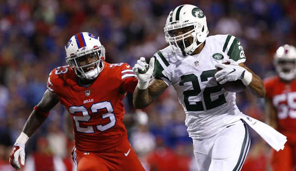 Sep 15, 2016; Orchard Park, NY, USA; New York Jets running back Matt Forte (22) runs for a touchdown as Buffalo Bills strong safety Aaron Williams (23) pursues during the second half at New Era Field. The Jets beat the Bills 37-31. Photo Credit: Kevin Hoffman-USA TODAY Sports