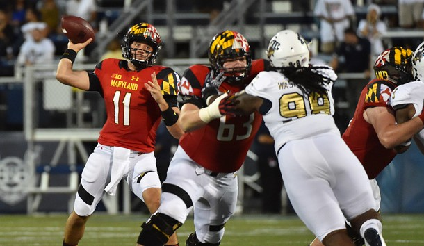 Sep 9, 2016; Miami, FL, USA;  Maryland Terrapins quarterback Perry Hills (11) attempts a pass against the FIU Golden Panthers during the first half at FIU Stadium. Mandatory Credit: Jasen Vinlove-USA TODAY Sports