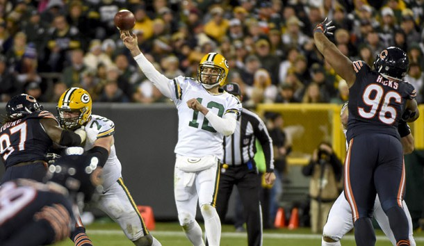 Oct 20, 2016; Green Bay, WI, USA;  Green Bay Packers quarterback Aaron Rodgers (12) gets a pass away in the fourth quarter during the game against the Chicago Bears at Lambeau Field. Photo Credit: Benny Sieu-USA TODAY Sports