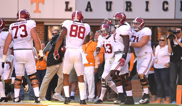 Oct 15, 2016; Knoxville, TN, USA;  Alabama Crimson Tide wide receiver ArDarius Stewart (13) carries for a touchdown against the Tennessee Volunteers during the first quarter at Neyland Stadium. Photo Credit: John David Mercer-USA TODAY Sports