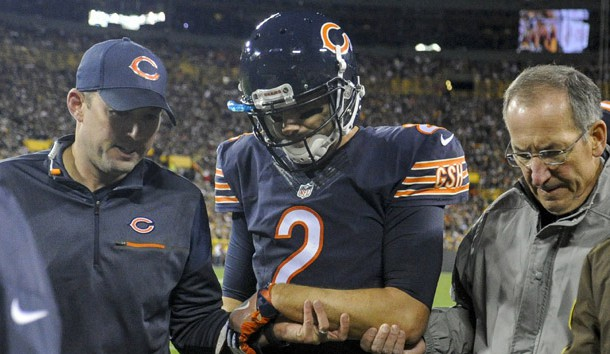 Oct 20, 2016; Green Bay, WI, USA;  Chicago Bears quarterback Brian Hoyer (2) leaves the game with an injury in the second quarter during the game against the Green Bay Packers at Lambeau Field. Photo Credit: Benny Sieu-USA TODAY Sports