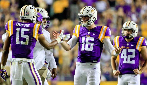 Oct 15, 2016; Baton Rouge, LA, USA;  LSU Tigers quarterback Danny Etling (16) celebrates with wide receiver Malachi Dupre (15) during the fourth quarter of a game at Tiger Stadium. LSU defeated Southern Mississippi 45-10. Photo Credit: Derick E. Hingle-USA TODAY Sports