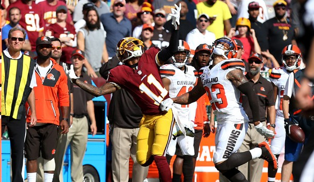 Oct 2, 2016; Landover, MD, USA; Washington Redskins wide receiver DeSean Jackson (11) is held by Cleveland Browns defensive back Joe Haden (23) while attempting to catch a pass in the fourth quarter at FedEx Field. The Redskins won 31-20. Photo Credit: Geoff Burke-USA TODAY Sports