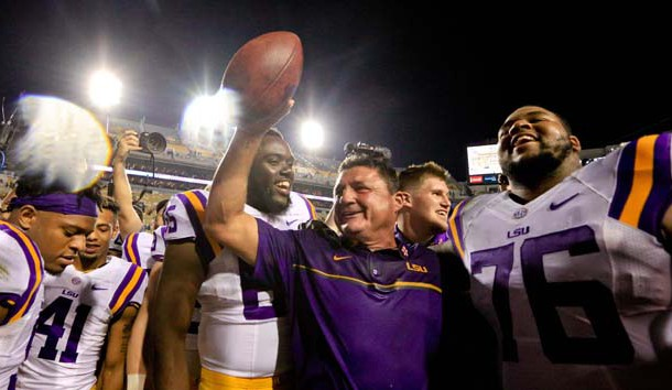 Oct 1, 2016; Baton Rouge, LA, USA;  LSU Tigers interim head coach Ed Orgeron celebrates following a win in his first game against the Missouri Tigers at Tiger Stadium. LSU defeated Missouri 42-7. Photo Credit: Derick E. Hingle-USA TODAY Sports