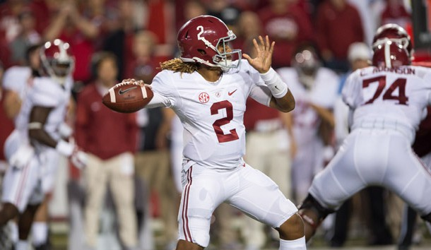 Oct 8, 2016; Fayetteville, AR, USA;  Alabama Crimson Tide quarterback Jalen Hurts (2) gets ready to throw during the second quarter against the Arkansas Razorbacks at Donald W. Reynolds Razorback Stadium. Photo Credit: Brett Rojo-USA TODAY Sports