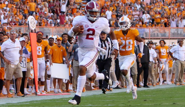 Oct 15, 2016; Knoxville, TN, USA; Alabama Crimson Tide quarterback Jalen Hurts (2) runs the ball against the Tennessee Volunteers during the first half at Neyland Stadium. Photo Credit: Randy Sartin-USA TODAY Sports