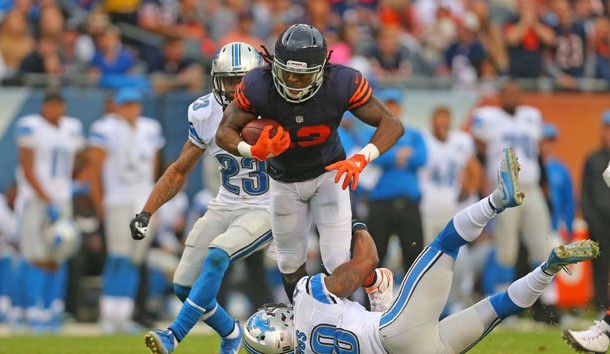 Oct 2, 2016; Chicago, IL, USA;  Chicago Bears wide receiver Kevin White (13) is tackled by Detroit Lions cornerback Quandre Diggs (28) during the first half at Soldier Field. Photo Credit: Dennis Wierzbicki-USA TODAY Sports