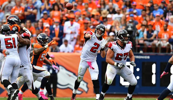 Oct 9, 2016; Denver, CO, USA; Atlanta Falcons quarterback Matt Ryan (2) passes the ball in the second half against the Denver Broncos at Sports Authority Field at Mile High. The Falcons defeated the Broncos 23-16. Photo Credit: Ron Chenoy-USA TODAY Sports