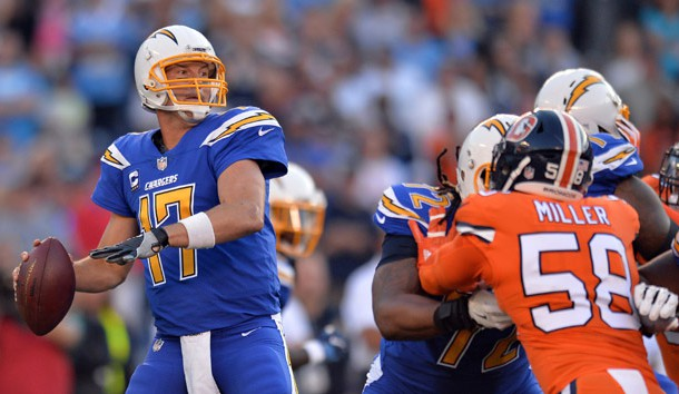Oct 13, 2016; San Diego, CA, USA; San Diego Chargers quarterback Philip Rivers (17) passes during the first quarter against the Denver Broncos at Qualcomm Stadium. Mandatory Credit: Jake Roth-USA TODAY Sports