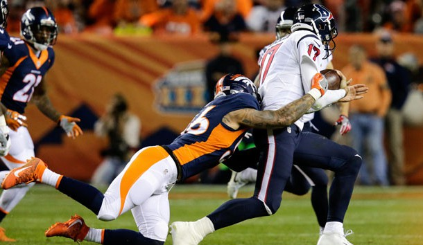 Oct 24, 2016; Denver, CO, USA; Denver Broncos outside linebacker Shane Ray (56) tackles Houston Texans quarterback Brock Osweiler (17) in the third quarter at Sports Authority Field at Mile High. Photo Credit: Isaiah J. Downing-USA TODAY Sports
