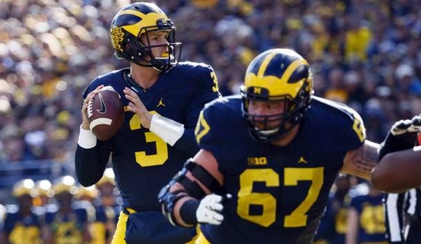 Oct 22, 2016; Ann Arbor, MI, USA; Michigan Wolverines quarterback Wilton Speight (3) passes in the first half against the Illinois Fighting Illini at Michigan Stadium. Photo Credit: Rick Osentoski-USA TODAY Sports