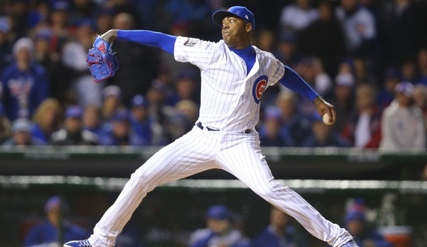 Oct 30, 2016; Chicago, IL, USA; Chicago Cubs relief pitcher Aroldis Chapman (54) delivers a pitch against the Cleveland Indians during the seventh inning in game five of the 2016 World Series at Wrigley Field. Photo Credit: Dennis Wierzbicki-USA TODAY Sports