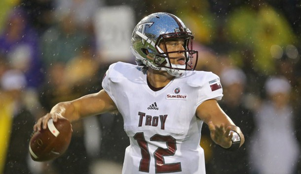 Sep 17, 2016; Hattiesburg, MS, USA; Troy Trojans quarterback Brandon Silvers (12) looks to throw in the first quarter against the Southern Miss Golden Eagles at M.M. Roberts Stadium. Photo Credit: Chuck Cook-USA TODAY Sports