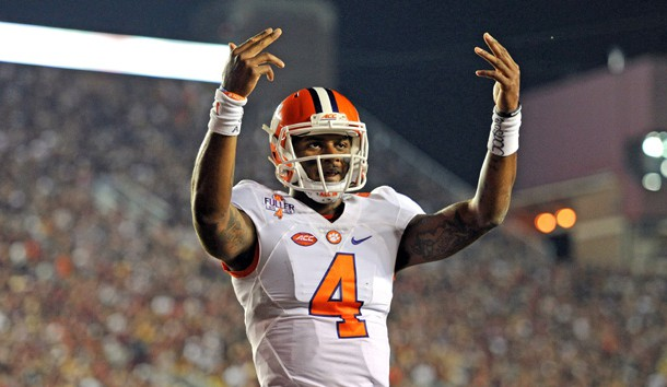 Oct 29, 2016; Tallahassee, FL, USA;  Clemson Tigers quarterback Deshaun Watson (4) makes a signal to the crowd after a touchdown during the game against the Florida State Seminoles at Doak Campbell Stadium. Photo Credit: Melina Vastola-USA TODAY Sports