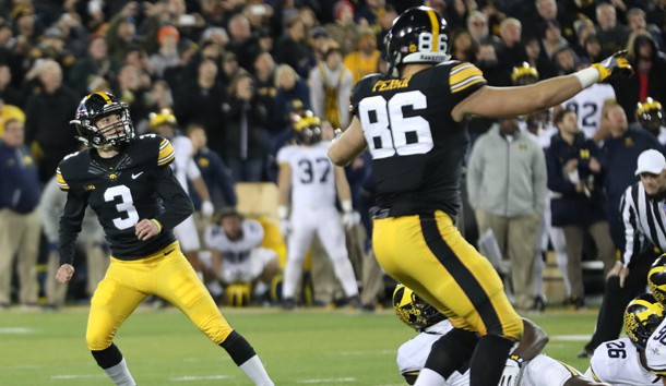 Nov 12, 2016; Iowa City, IA, USA; Iowa Hawkeyes place kicker Keith Duncan (3) watches his game winning field goal against the Michigan Wolverines at Kinnick Stadium. The Hawkeyes won 14-13. Photo Credit: Reese Strickland-USA TODAY Sports