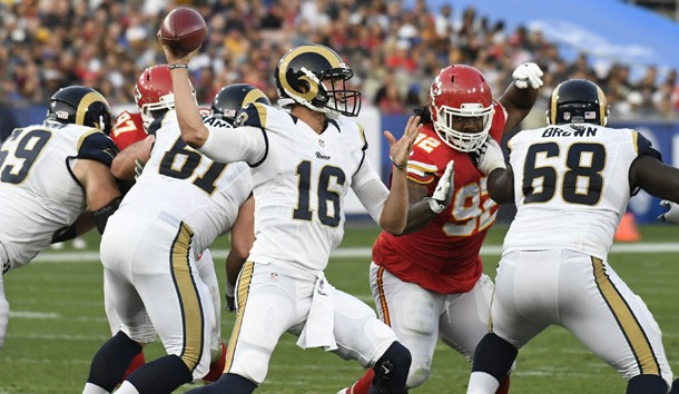 Aug 20, 2016; Los Angeles, CA, USA; Los Angeles Rams quarterback Jared Goff (16) throws the ball during the second quarter against the Kansas City Chiefs at Los Angeles Memorial Coliseum. Photo Credit: Richard Mackson-USA TODAY Sports