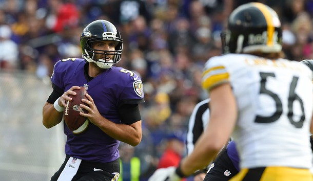 Nov 6, 2016; Baltimore, MD, USA; Baltimore Ravens quarterback Joe Flacco (5) drops back to pass during the first quarter against the Pittsburgh Steelers at M&T Bank Stadium. Mandatory Credit: Tommy Gilligan-USA TODAY Sports
